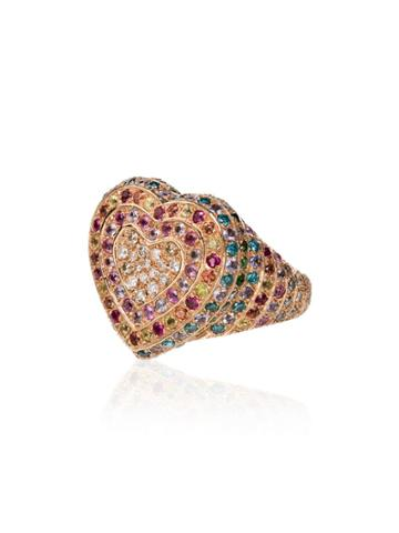 Carolina Bucci Florentine Diamond Ruby Sapphire 18k Gold Heart Ring