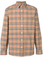 Burberry Check Shirt - Brown