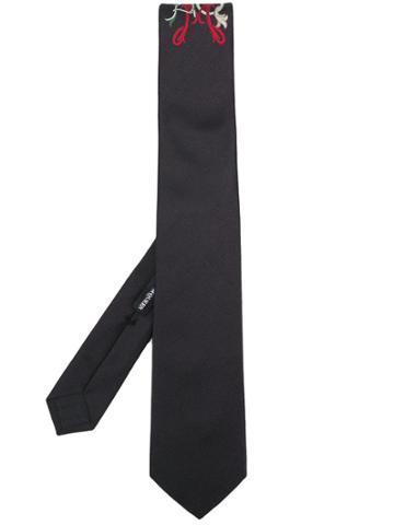 Alexander Mcqueen Embroidered Tie - Black
