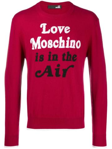 Love Moschino Quote Print Sweater - Red