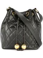 Chanel Vintage Quilted Cc Drawstring Shoulder Bag - Black