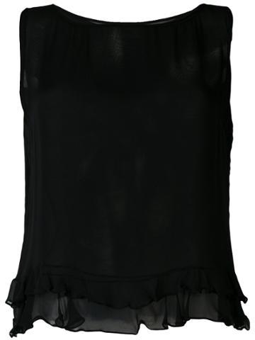 Gucci Vintage Ruffled Hem Blouse - Black