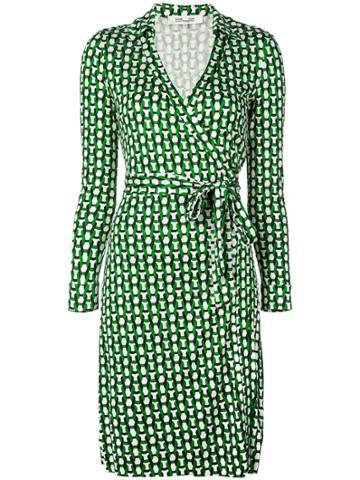Dvf Diane Von Furstenberg Geo Print Wrap Dress - Green