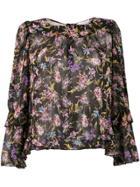 Patrizia Pepe Sheer Floral Print Blouse - Black