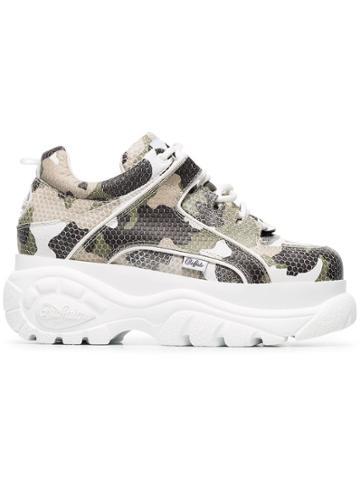 Buffalo Camo Print Platform Sneakers - Green