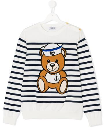 Moschino Kids Sailor Teddy Breton Striped Top - White