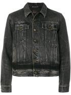 Saint Laurent Distressed Cropped Denim Jacket - Black