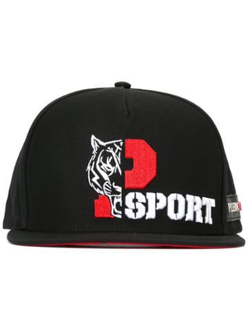 Plein Sport Tiger Embroidered Cap, Men's, Black, Cotton/polyester