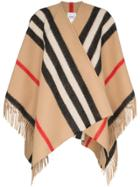 Burberry Fringe Detail Cape-scarf - Brown