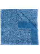 Canali Circle Pattern Scarf, Men's, Blue, Cotton/linen/flax