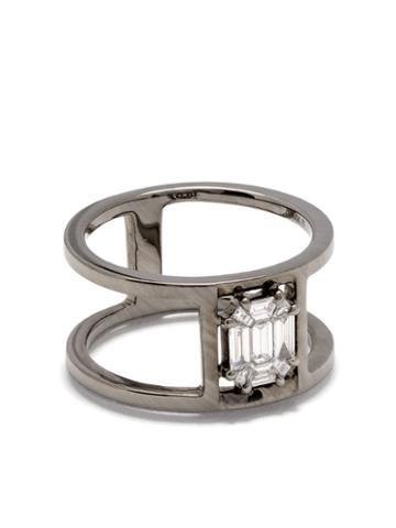 As29 18kt Black Gold Illusion Tube Diamond Ring