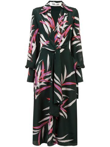 Dvf Diane Von Furstenberg Plunge Wrap Front Dress - Green