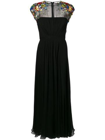Escada Embellished Shoulders Dress - Black