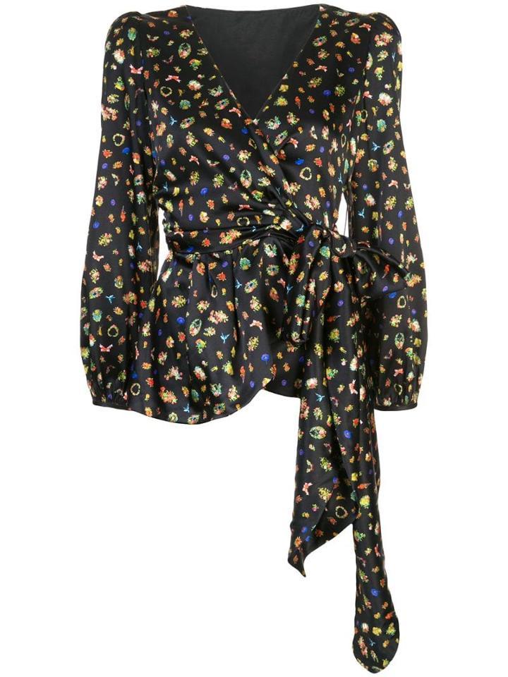 Cynthia Rowley Mila Silk Wrap Blouse - Black