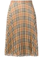 Burberry Check Pleated Skirt - Neutrals