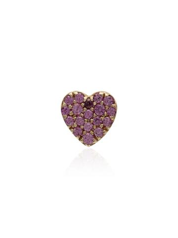 Loquet Pink And Gold Sapphire Heart Earring - 111 - Pink