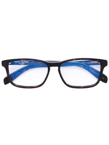 Saint Laurent - Rectangular Glasses - Unisex - Acetate - One Size, Brown, Acetate