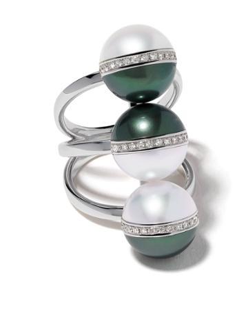 Tasaki 18kt White Gold Balance Unite Diamond And South Sea Pearl Ring
