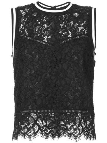 Veronica Beard - Lace Detail Tank Top - Women - Cotton/nylon/viscose - 10, Black, Cotton/nylon/viscose