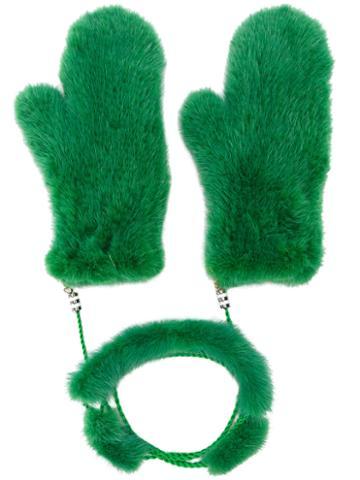 Liska - Fur Mittens With Chain Link - Women - Mink Fur - One Size, Green, Mink Fur