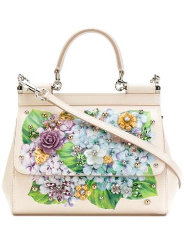 Dolce & Gabbana - Small Sicily Hydrangea Print Shoulder Bag - Women - Calf Leather - One Size, Nude/neutrals, Calf Leather