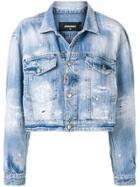 Dsquared2 Cropped Distressed Denim Jacket - Blue