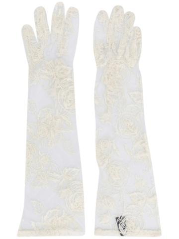 Ann Demeulemeester Sheer Lace Long Gloves - White