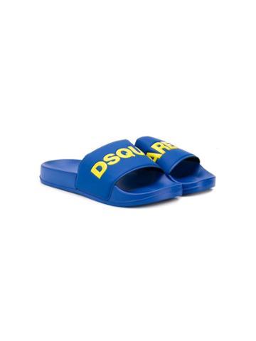 Dsquared2 Kids Teen Logo Print Slides - Blue
