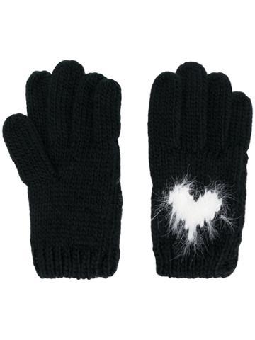 Twin-set Heart Intarsia Gloves - Black