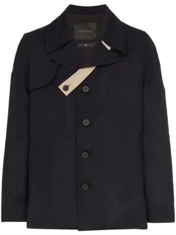 Mackintosh Single Breasted Wool Coat - Blue