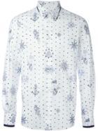 Alexander Mcqueen Tattoo Print Shirt, Men's, Size: 52, White, Cotton