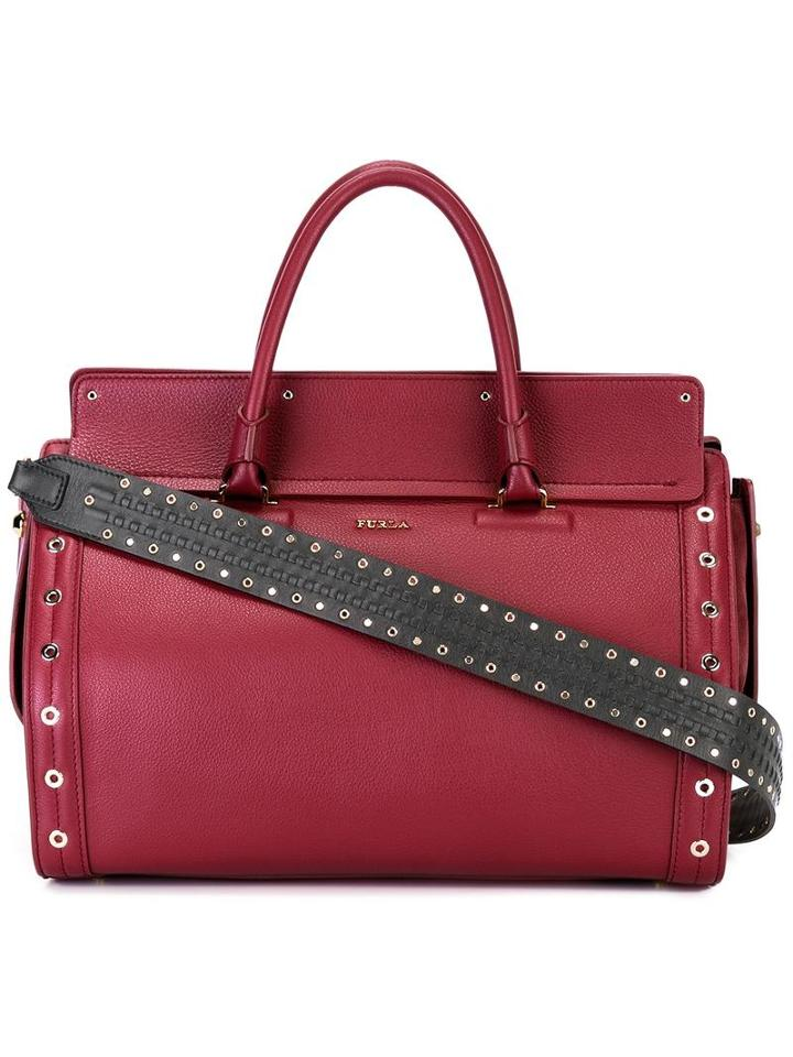Furla Studded Tote, Women's, Red, Leather