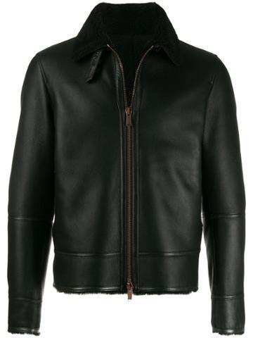 Tagliatore Shearling Collar Jacket - Black