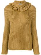 Bottega Veneta Fringed Collar Cashmere Jumper - Yellow