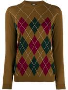 Aspesi Argyle Knit Jumper - Brown