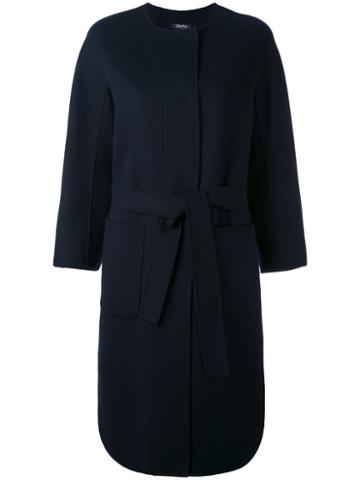 's Max Mara - Luca Belted Coat - Women - Wool - 40, Blue, Wool