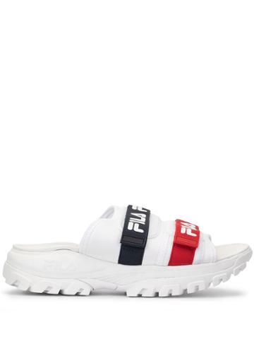 Fila Logo Strap Slides - White