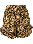 Ganni Floral Print Shorts - Black