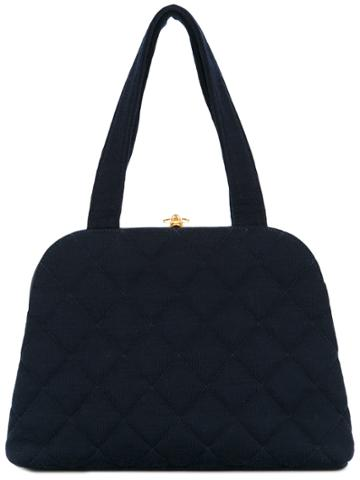 Chanel Vintage Structured Quilted Tote Bag - Blue