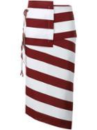 No21 Striped Asymmetric Pencil Skirt