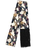 Dundas Fringed Lurex Floral Scarf - Blue