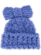 Federica Moretti Knitted Bow Beanie - Blue