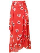 Ganni Tilden Mesh Wrap Skirt - Red
