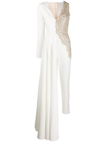 Loulou Asymmetric Beaded Jumpsuit - White