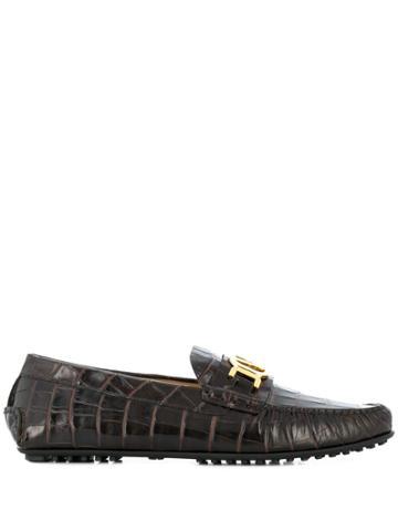 Versace Crocodile Embossed Logo Loafers - Brown