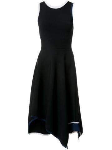 Derek Lam 10 Crosby - Asymmetrical Hem Dress With Contrast Binding - Women - Merino - M, Black, Merino