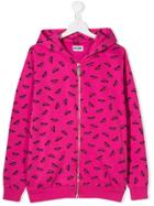 Moschino Kids Teen Logo Zipped Hoodie - Pink