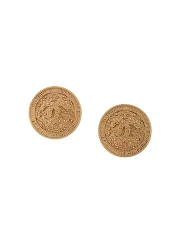 Chanel Vintage Baroque Logo Earrings - Metallic