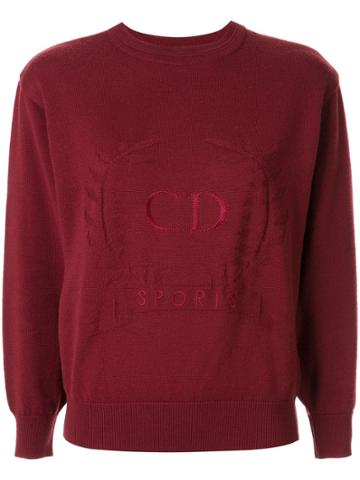 Christian Dior Pre-owned Logo Embroidery Slim-fit Jumper - Red