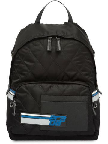 Prada Logo Quilted Backpack - Black